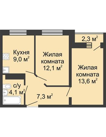 ЖК ЮГ (Нижний Новгород) – планировка №2