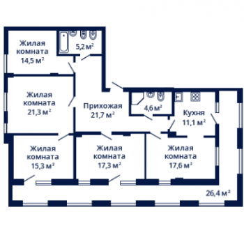 ЖК Планетарий (Нижний Новгород) – планировка №14