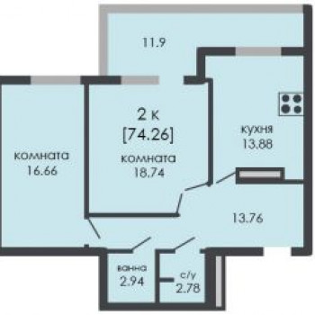 ЖК На Ошарской (Нижний Новгород) – планировка №1
