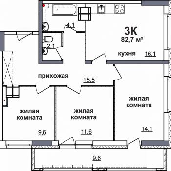 ЖК Подкова на Родионова (Нижний Новгород) – планировка №1