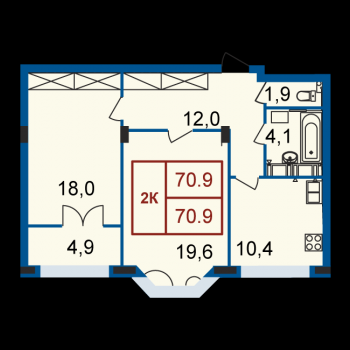 ЖК Континенталь (Нижний Новгород) – планировка №3