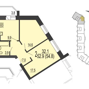 ЖК Дуэт (Новгород) – планировка №3