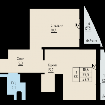 ЖК Алые Паруса (Новгород) – планировка №3
