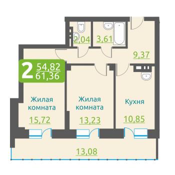 ЖК Марсель (Новосибирск) – планировка №12