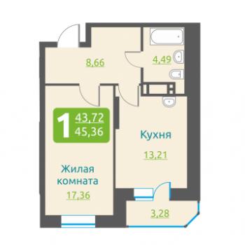 ЖК Марсель (Новосибирск) – планировка №6