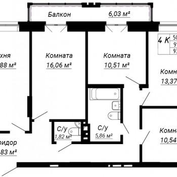ЖК дом на Лежена (Новосибирск) – планировка №8