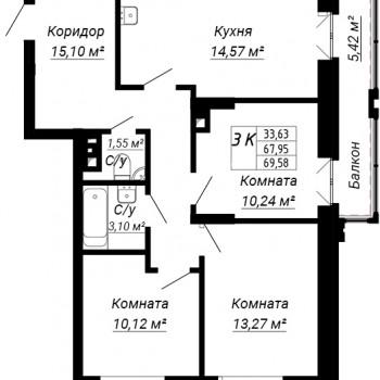 ЖК дом на Лежена (Новосибирск) – планировка №6
