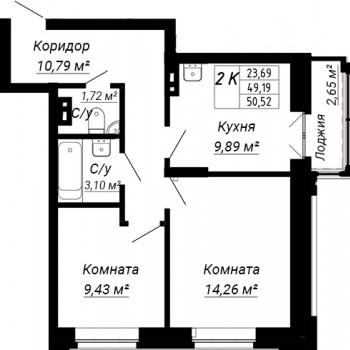ЖК дом на Лежена (Новосибирск) – планировка №2