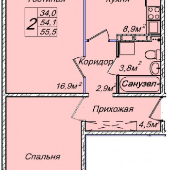 ЖК Венеция (Новосибирск) – планировка №7