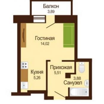 ЖК Микрорайон Московка 2 (Омск) – планировка №3