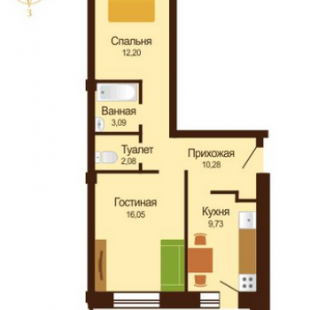 ЖК Микрорайон Московка 2 (Омск) – планировка №2