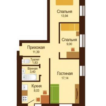 ЖК Микрорайон Московка 2 (Омск) – планировка №1
