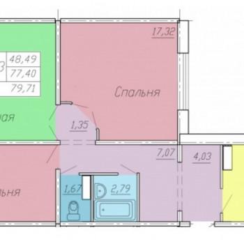 ЖК Тарская крепость 2 (Омск) – планировка №1