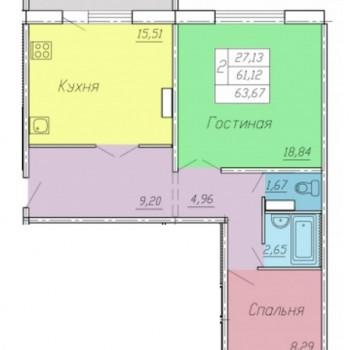 ЖК Тарская крепость 2 (Омск) – планировка №3