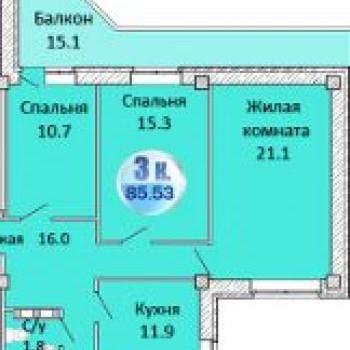 ЖК Атланты (Омск) – планировка №2