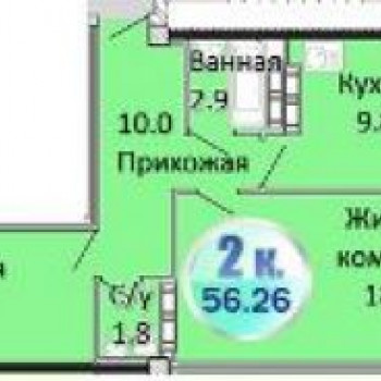 ЖК Атланты (Омск) – планировка №3
