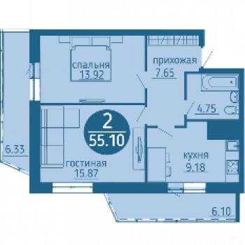 ЖК Выше мира (Пермь) – планировка №3