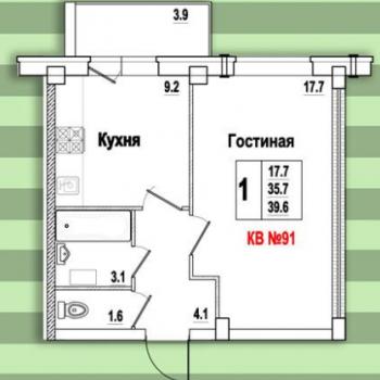 ЖК Видный (Псков) – планировка №6
