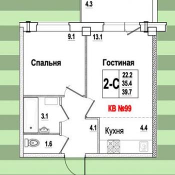 ЖК Видный (Псков) – планировка №4