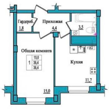 ЖК Балтийский каскад (Псков) – планировка №1