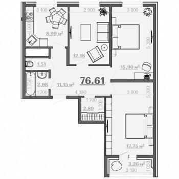 ЖК Дубрава 3 (Рязань) – планировка №2