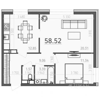 ЖК Лайт Сити LS (Рязань) – планировка №3