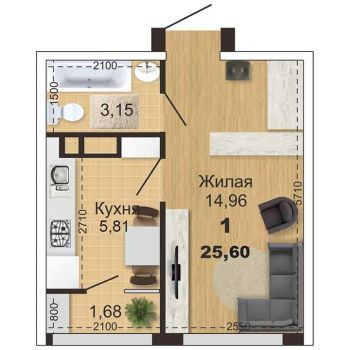 ЖК Метропарк (Рязань) – планировка №1