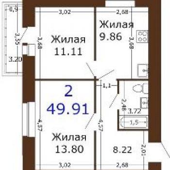 ЖК Юный (6 очередь) (Рязань) – планировка №3