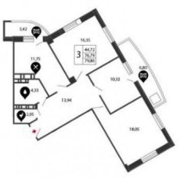 ЖК Радужный люкс (Самара) – планировка №2
