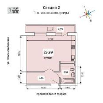 ЖК Желябово (Самара) – планировка №1
