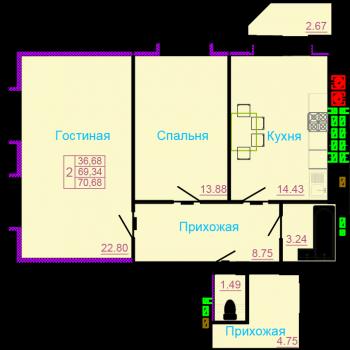 ЖК Вернадский (Тамбов) – планировка №7