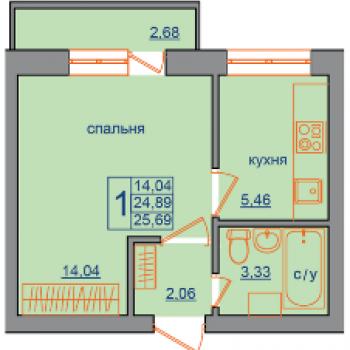 ЖК Звездный (Тамбов) – планировка №1