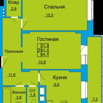ЖК Вертикаль (Тула) – планировка №11