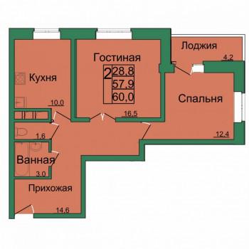 ЖК Вертикаль (Тула) – планировка №8