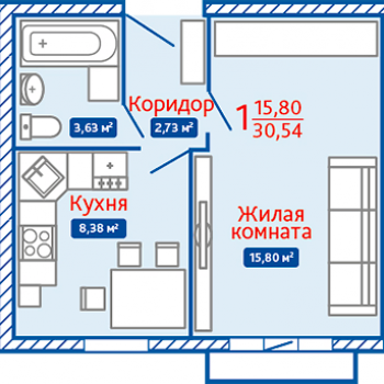 ЖК Северная Мыза (Тула) – планировка №15