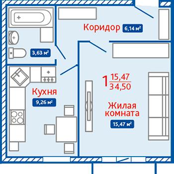 ЖК Северная Мыза (Тула) – планировка №11