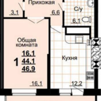ЖК на улице Вересаева (Тула) – планировка №1