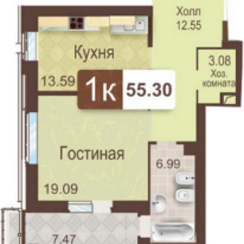 ЖК Аристократ (Тюмень) – планировка №1