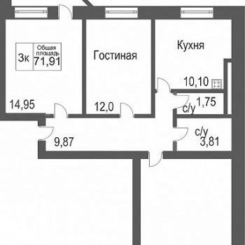 ЖК Северное сияние (Тюмень) – планировка №1
