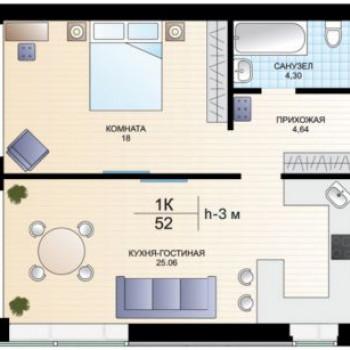 ЖК Хауз-клаб (Тюмень) – планировка №1