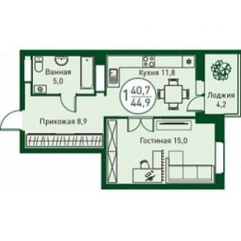 ЖК Заречный (Тюмень) – планировка №15