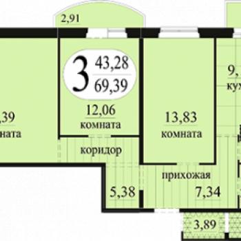 ЖК Новоантипинский (Тюмень) – планировка №3