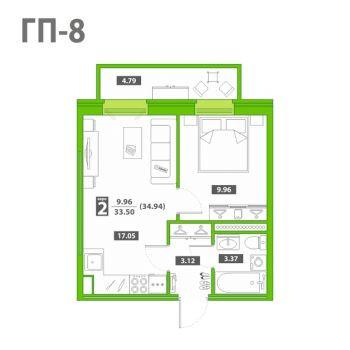 ЖК Звездный городок (Тюмень) – планировка №12