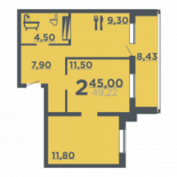 Жилой дом на ул. 8-й Воздушной армии (Волгоград) – планировка №2