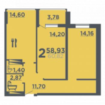 Жилой дом на ул. 8-й Воздушной армии (Волгоград) – планировка №1