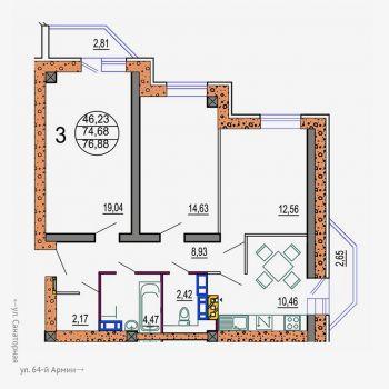 ЖК Колизей (Волгоград) – планировка №1