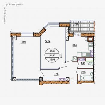 ЖК Колизей (Волгоград) – планировка №3