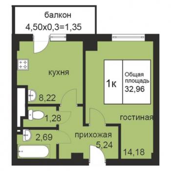 ЖК Площадь Труда 2 (Волгоград) – планировка №1