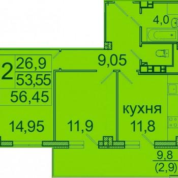 ЖК Лазурь (Волгоград) – планировка №3
