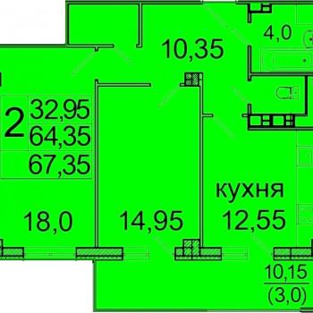 ЖК Лазурь (Волгоград) – планировка №2